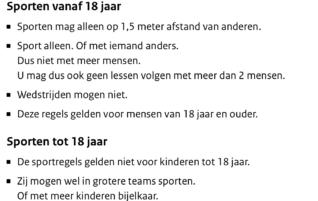 Nieuwe corona regels per 4 november 2020. Gekopieerd van Rijksoverheid.nl